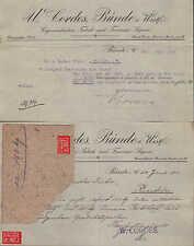BÜNDE i. W., 2 Briefe 1911, Zigarren-Kisten-Fabrik u. Fournier-Sägerei W. Cordes