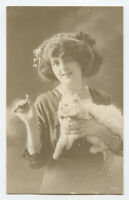 1910s Pretty Lady w/ FLUFFY WHITE CAT Long Hair Haired photo postcard