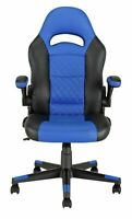 New  Argos Home Raptor Faux Leather Gaming Chair - Black & Blue-GBL137.