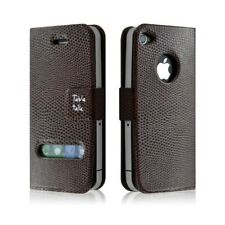housse étui coque style croco pour Apple Iphone 4/4S couleur marron+ Film de pro