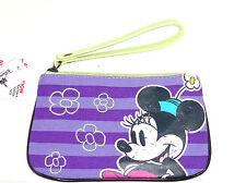 Disney Minnie Mouse Wristlet Handbag Wallet Purple Green Theme Parks