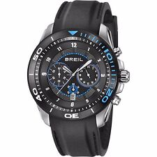 Brand New Breil TW1218 Edge Chronograph Black Blue Date Watch Black Rubber Strap
