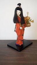 13 Inch Handmade Japanese Hina Ningyo Long Hair Gheisha Doll-Black Lacquer Base