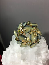 Gorgeous True Vintage Julianna? Easter Egg Rhinestone Dome Pin Brooch Art Deco