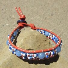 TRADE BEAD BRACELET VINTAGE WHITE/BLUE/RED-BROWN TRADE BEADS, STONE, ON LEATHER