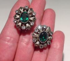 Emerald Paste & Sapphire Pierced Earrings Georgian 18K Rose Gold 800 Silver