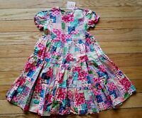 Girls HANNA ANDERSSON Quilting Bee Patchwork Pattern Floral DRESS Sz 110 NWT