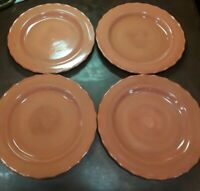 HOME & GARDEN PARTY STONEWARE COLLECTION SET OF 4 DINNER PLATES BURNT ORANGE