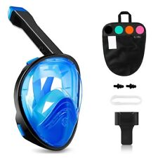 Full Face Snorkel Mask 180 Degree Panoramic View Anti-Leak/Anti-Fog - Black Blue