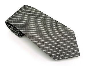 Calvin Klein Tie Gray White Geometric Silk Blend 63 x 3.25 Extra Long China New