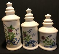 Vintage N S Gustin Co Hand Decorated Porcelain Canister Set, Made In USA, Floral