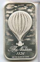 Great Nassau 1836 Balloon 999 Silver 1 oz Art Medal ingot Bar ounce - JD326