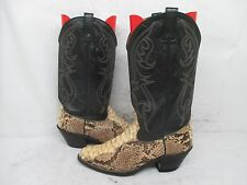 Snake Skin Leather Cowboy Western Boots Leather Soles Size 9 EW USA