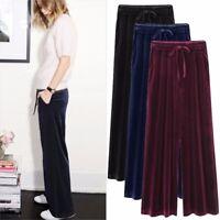 Lady Velvet Pleuche Pants Wide Leg Long Trousers Stretch Tie Waist Loose Casual