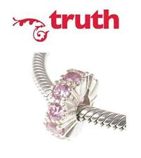 TRUTH PK 925 sterling silver wavy PINK CZ crystal  sparkle spacer charm bead