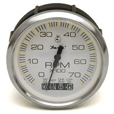 Faria Boat Tachometer Gauge TC9937A | Systems Check White 3 3/8 Inch