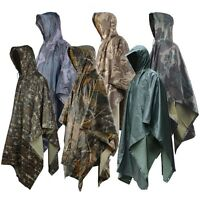 Men Outdoor 3 in 1 Military Raincoat Poncho Backpack Rain Cover Tent Mat Awning