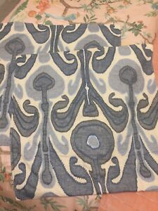 """NWT Pottery Barn KENMARE IKAT BLUE Embroidered Pillow Covers 24"""" x 24"""" Square"""