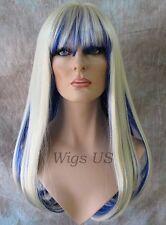Long Wig Light Blonde Dark Blue Longer Layers Bangs Center Part Kelly Wigs US