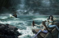 Home decor Mermaid Rain Sea Sailing Ships oil painting picture Printed on Canvas