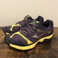 Mizuno Wave Ascend 8 Athletic Running Trail Shoes Womens Size 6.5 Purple Yellow