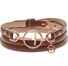 Emporio Armani EG3191221 17Gr. Rose Gold Tone Triple Wrap Leather Brown Bracelet