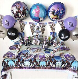 133 Fortnite Theme Birthday Party Supplies Disposable Tableware Set Kids Boy