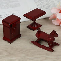 KQ_ Kids Wooden Horse Bedside Coffee Table Model 1/12 Dollhouse Furniture Deluxe