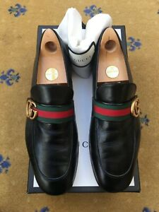 Gucci Mens Shoes Black Leather Web Loafers UK 8.5 US 9.5 42.5 Green Red Donnie