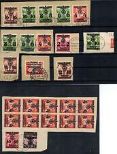 Lot Generalgouvernement 1940 aus Mi Nr. 17 - 34 gestempelt auf Briefausschnitten