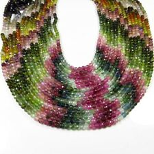 NATURAL MULTI TOURMALINE FACETED GEMSTONE 3 mm. BALL SHAPE BEADS 13 inch STRAND