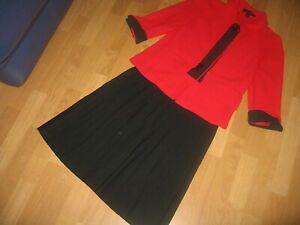 St. John Collection Wool Knit Red/Black Jacket  and Skirt s.4
