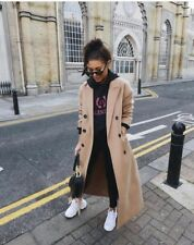Topshop Camel Military Double Breasted Winter Warm Long Midi Jacket Coat 6 - 16