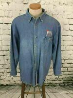 Channel Mark Men's Sz XL Shirt Blue Denim Country Nashville Music City Button-Up