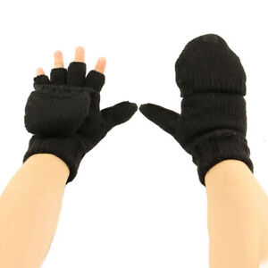 Men's Thinsulate 3M Thick Wool Knitted Half Mitten Suede Palm Gloves Black S/M