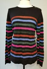 ANNE KLEIN Womens Size Large MultiColor Striped Black Combo Pullover Sweater N16