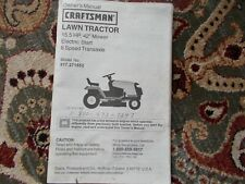 """Sears Craftsman 15.5 hp. 6-sp 42"""" Lawn Tractor Owner & Parts Manual 917.271552"""