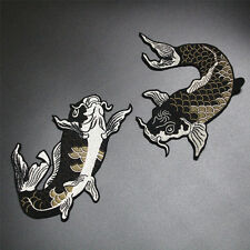 2pcs/set Carp Japanese Koi Embroidered patches Sew on Big cool Fish Patch