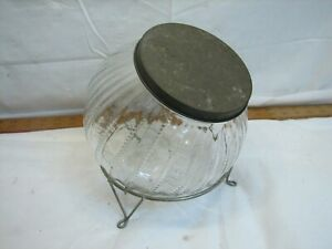 Ribbed Globe Glass Counter Ball Jar Container Striped Cookie Candy Tin Lid Stand