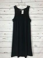 Loft Women's Petite XXSP Black Crochet Sleeveless Spring Dress New With Tags $69