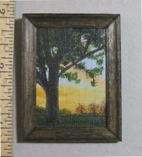 "1:12 scale Miniature Painting ""Tree at Sunset"" OOAK Artist made LesBonArt"