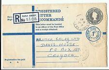Registered Letter QE2 Earls Court B.O. 1968 to Croydon