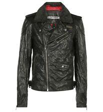 New 100% Genuine SUPERDRY Fashion Men's motorcycle Biker jacket washed leather