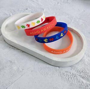 (X4) ADHD Awareness Silicone Wristband Medical Alert Bracelet ADHD UK