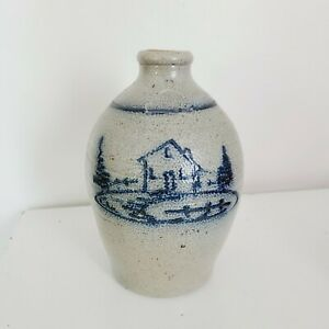 "Rowe Pottery Works Cambridge Wisconsin 1982 Cobalt Salt Glaze Jug Cabin Scene 8"""