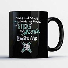 Surfing Coffee Mug - Sticks And Waves - Adorable 11 oz Black Ceramic Tea Cup - C
