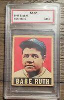 1949 Leaf Babe Ruth Baseball Card RP Graded