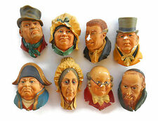 BOSSONS ENGLAND Vintage CHALKWARE HEADS BUSTS  Lot of 8