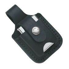 ZIPPO BLACK LEATHER POUCH WITH LOOP & THUMB NOTCH LPTBK ZIP854