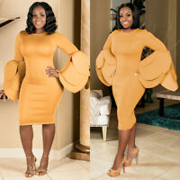 Womens Long Sleeve Bodycon Evening Party Cocktail Formal Gown Midi Pencil Dress
